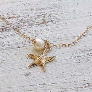 Starfish & Pearl Anklet Gold Boho Ankle Bracelet
